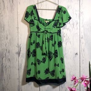 Nanette Lepore Bow Print Silk Baby Doll Dress Sz 8